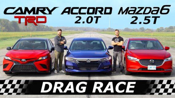 2020 Toyota Camry TRD vs Honda Accord vs Mazda6 // DRAG & ROLL RACE